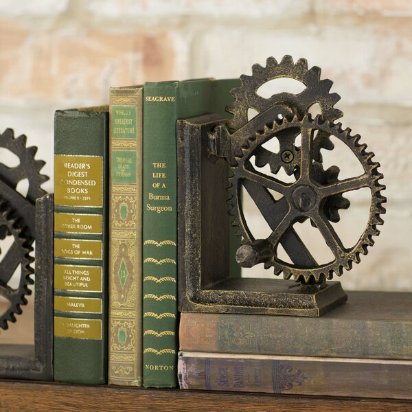 Industrial Gear Sculptural Iron Book End (Set of 2) by Design Toscano