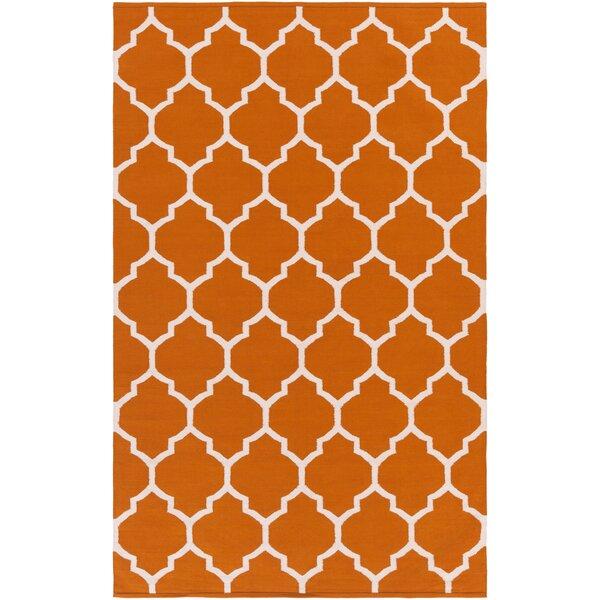 Bohannon Handmade Orange Geometric Area Rug by Andover Mills