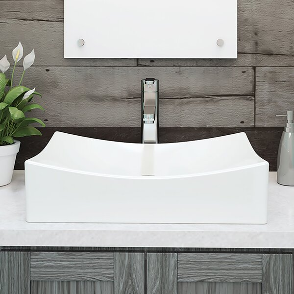 Kalina Classically Redefined Ceramic Rectangular Vessel Bathroom Sink by DECOLAV