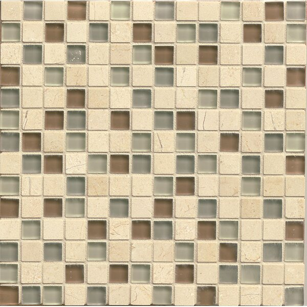 Interlude 0.75 x 0.75 Stone and Glass Mosaic Tile in Musette by Bedrosians