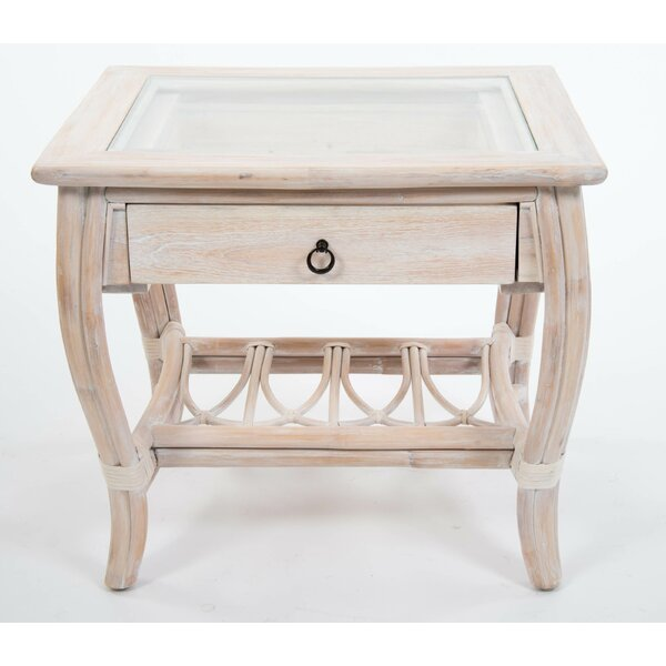 Presley Glass Top End Table with Drawer by Bay Isle Home Bay Isle Home
