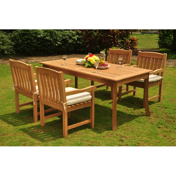 Meghan Luxurious 5 Piece Teak Dining Set by Rosecliff Heights