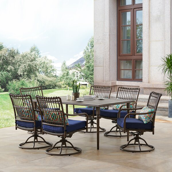 Ritchie 7 Piece Dining Set with Cushions Bayou Breeze W000563773