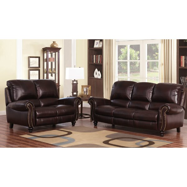 Tanguay Reclining 2 Piece Leather Living Room Set by Williston Forge