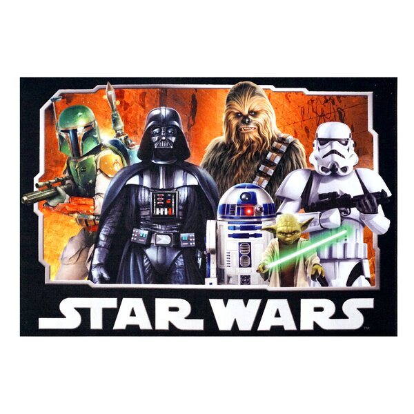 Lucas Star Wars Polyester Black/Orange Kids Rug by G.A. Gertmenian & Sons
