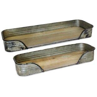 Sager Cedar and Metal 2 Piece Floating Shelf Set