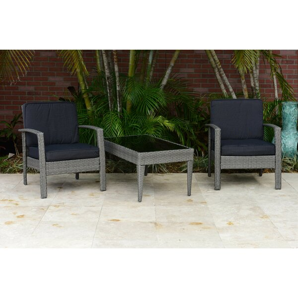 Hazle 3 Piece Rattan Conversation Set with Cushions by Beachcrest Home