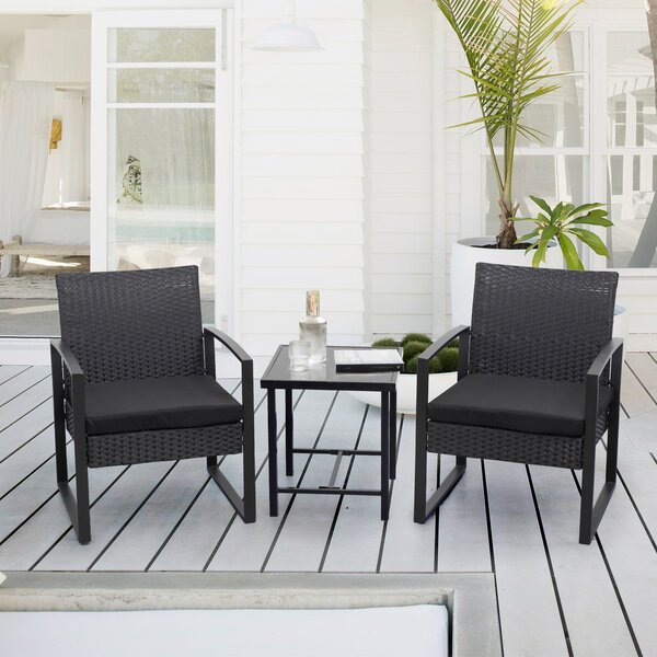 Beoll 3 Piece Rattan Seating Group with Cushions by Wrought Studio