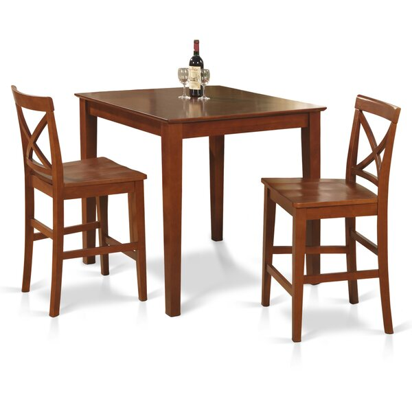3 Piece Counter Height Solid Wood Dining Set by East West Furniture East West Furniture