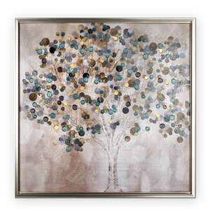 'A Teal Tree' Framed Painting Print by Latitude Run