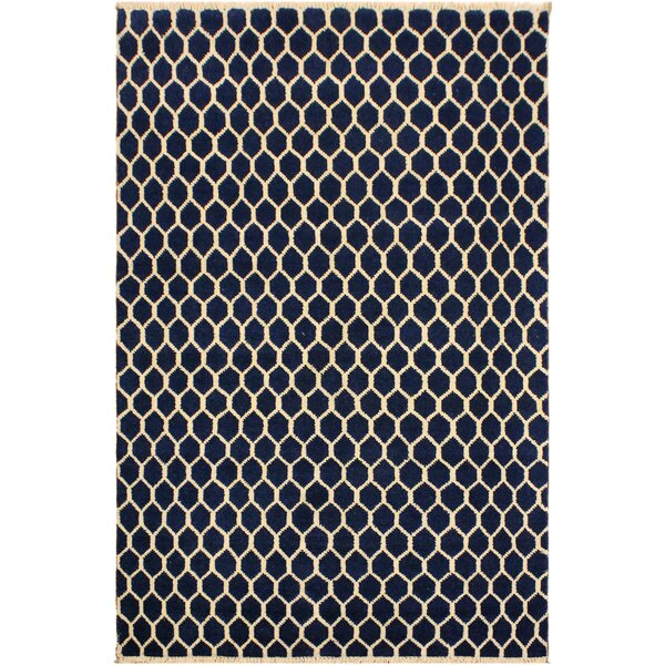 One-of-a-Kind Aaron Hand Knotted Wool Navy/Ivory Area Rug by Isabelline