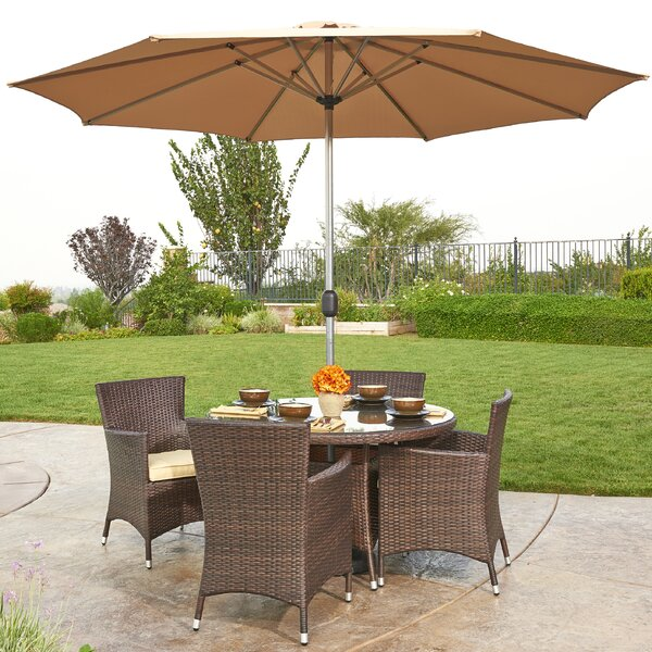 Gita 6 Piece Outdoor Wicker Dining Set with Cushions and Umbrella by W Unlimited
