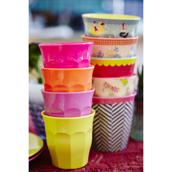 Go for the Fun Curved 8 oz. Melamine Drinkware Set (Set of 6) by Rice