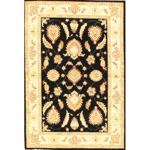 Farahan Hand-Knotted Wool Black/Ivory Area Rug by Pasargad NY