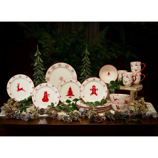 Winterfest 16 Piece Earthenware Dinnerware Set, Service for 4 by The Holiday Aisle