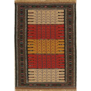 Price comparison One-of-a-Kind Maddix Classical Kilim Shiraz Persian Traditional Hand-Knotted 3'7 x 5'8 Wool Black/Beige/Red Area Rug By Isabelline