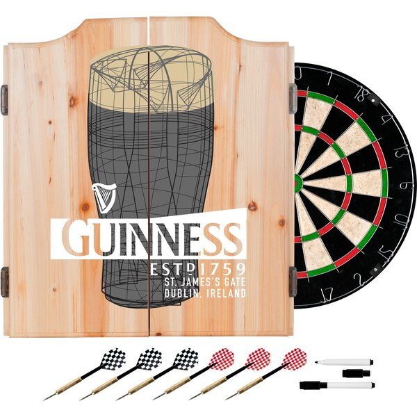 Guinness Line Art Pint Dartboard and Cabinet Set by Trademark Global
