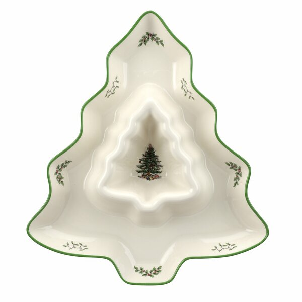 Christmas Tree Shaped Chip and Dip Platter by Spode