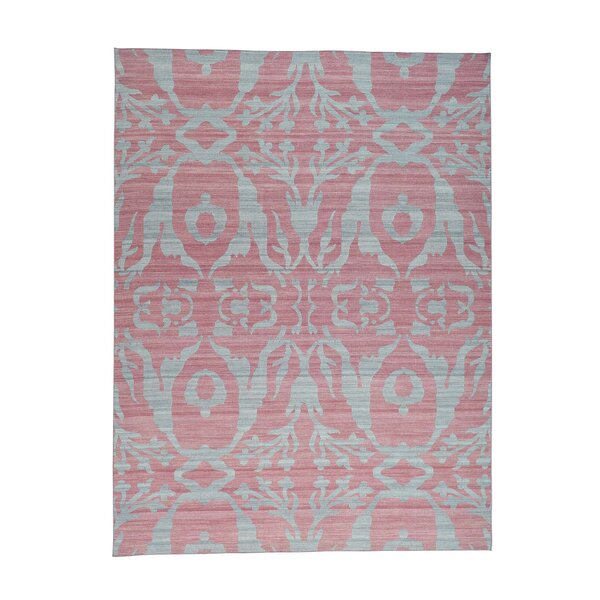 Flat Weave Reversible Kilim Hand-Knotted Pink/Gray Area Rug by Bungalow Rose
