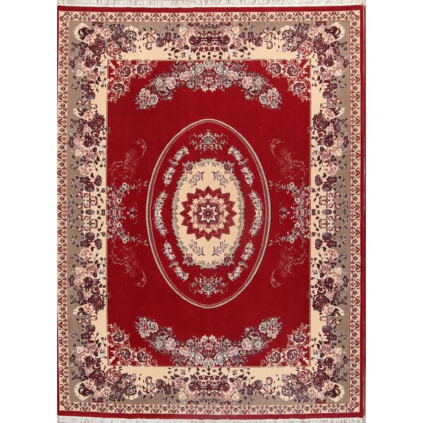 Geometric Floral Tabriz Classical Persian Red/Ivory Area Rug by Isabelline