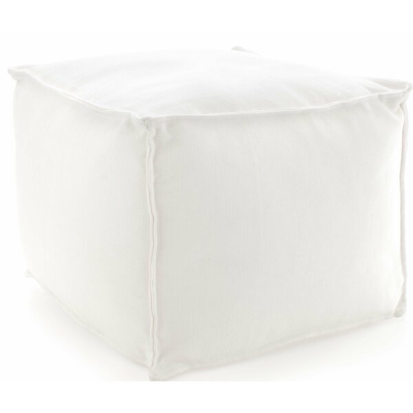 "Solid White Indoor/Outdoor Pouf 25""Wx23""Lx17""H by Fresh American"