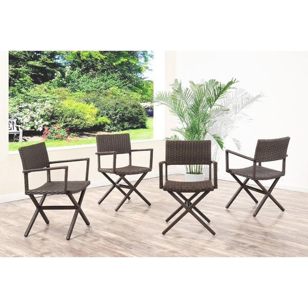 Barta Wicker Patio Dining Chair (Set of 4) by Brayden Studio
