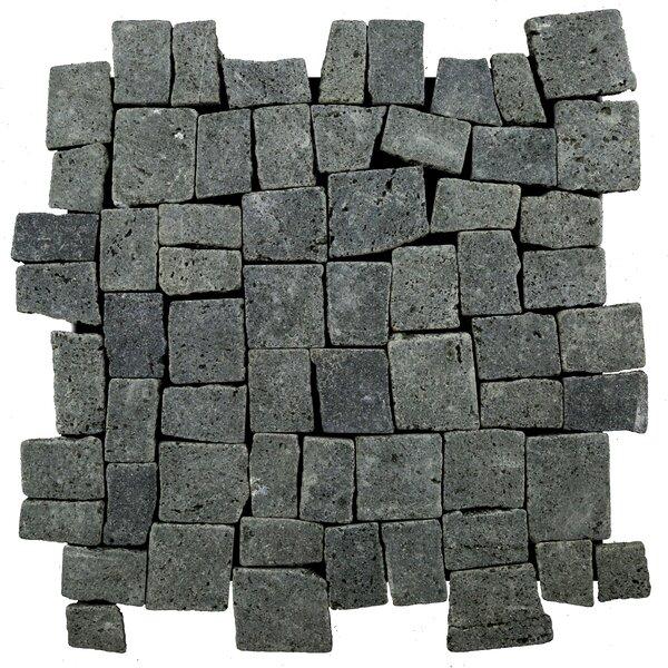 Blocks Random Sized Natural Stone Mosaic Tile in Black by Pebble Tile