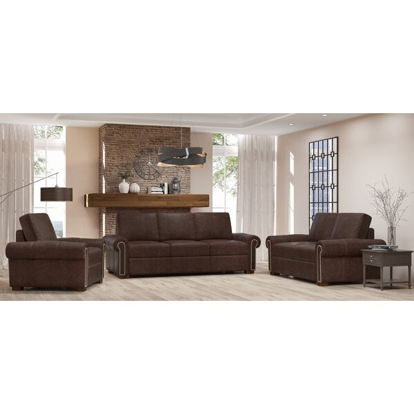 Burke 3 Piece Leather Living Room Set by Westland and Birch Westland and Birch