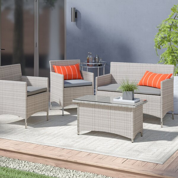 Azucena 4 Piece Sofa Set Group with Cushions by Orren Ellis