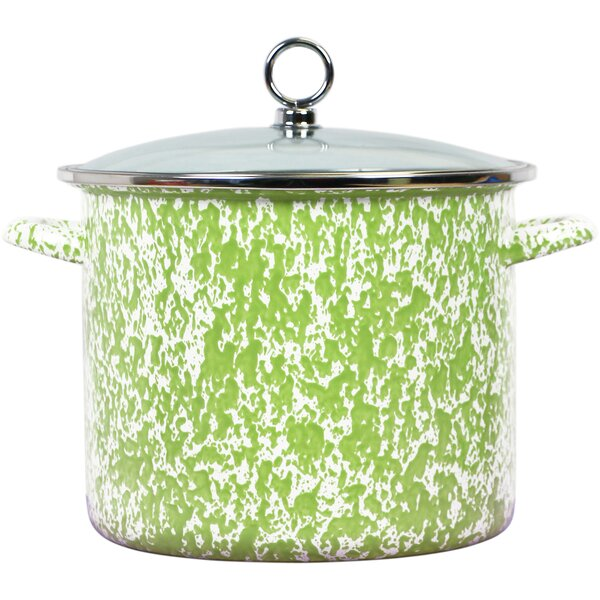 Lewand Steel Stock Pot with Lid by Latitude Run