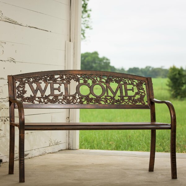 Welcome Steel Garden Bench by Charlton Home Charlton Home