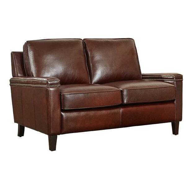 Hahira Leather Loveseat by Three Posts