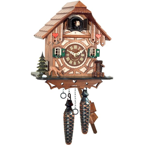 Battery-Operated Hearts Cuckoo Wall Clock by Loon Peak