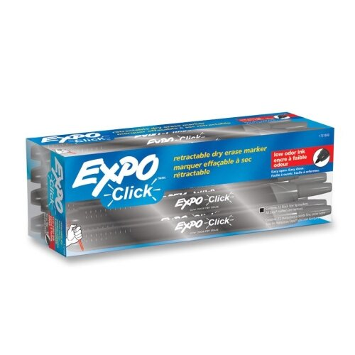 Click Dry Erase Markers, Fine Tip, Black, Dozen by