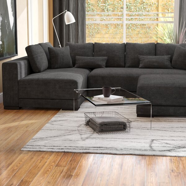 Danielle Left Hand Facing Sectional with Ottoman by Modern Rustic Interiors