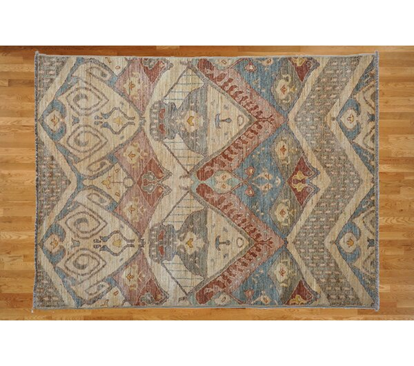 One-of-a-Kind Pellegrino Ikat Hand-Knotted Wool Ivory Area Rug by Bloomsbury Market