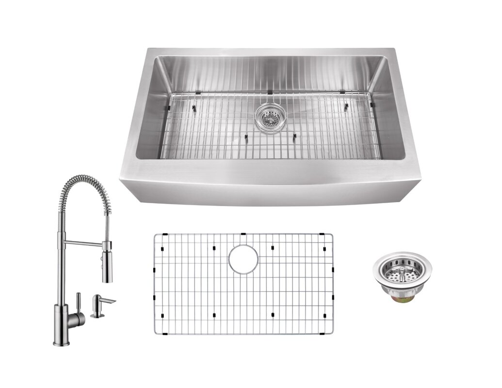 gauge stainless steel 36   x 21   apron kitchen sink with faucet and soap dispenser cahaba gauge stainless steel 36   x 21   apron kitchen sink with      rh   wayfair com