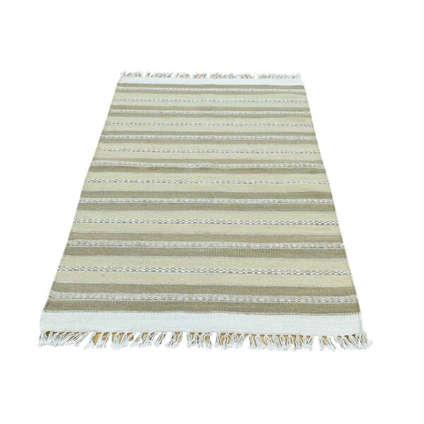 Durie Kilim Flat Weave Striped Hand-Knotted Ivory/Light Green Area Rug by Bloomsbury Market