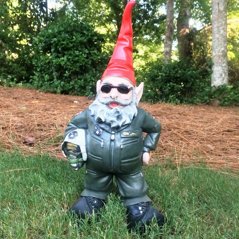 """Garden Gnomes With Guns homestyles nowaday gnomes """"top gun"""" air force pilot military"""