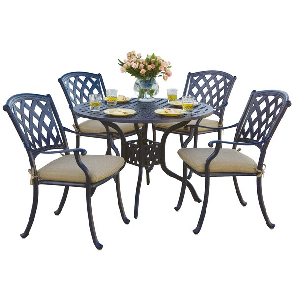 Campton 5 Piece Dining Set with Cushion by Fleur De Lis Living