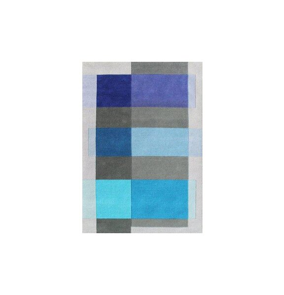 Delaware Hand Woven Wool Gray/Blue Indoor Area Rug by Latitude Run