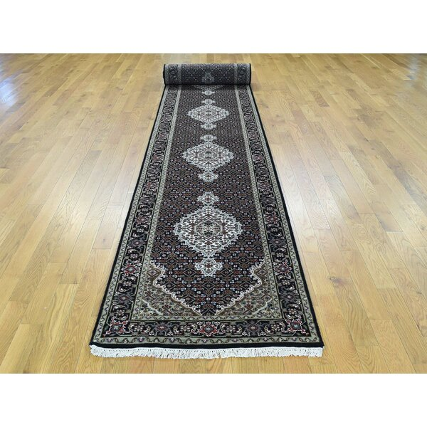 One-of-a-Kind Beringer Mahi Handwoven Black Wool/Silk Area Rug by Isabelline