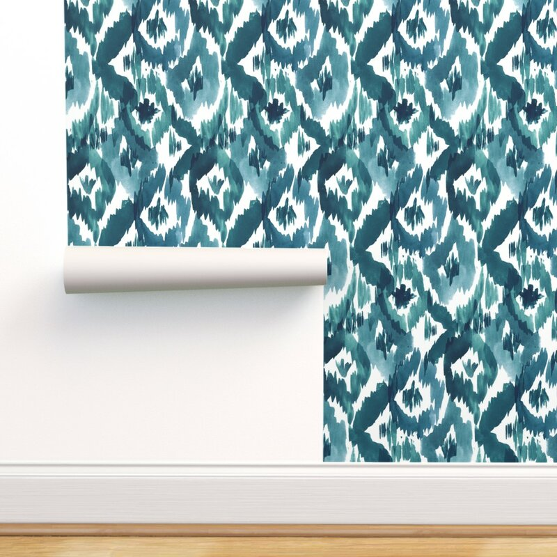Peel And Stick Removable Wallpaper Ikat Peacock Blue Modern Home Decor Organic Home Garden Wallpaper Rolls Sheets Ayianapatriathlon Com