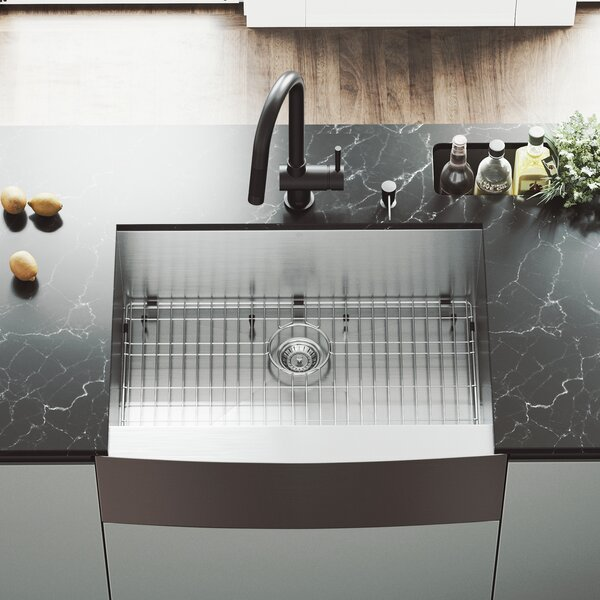 30 L x 22.25 W Farmhouse Apron Single Bowl 16 Gauge Stainless Steel Kitchen Sink with Faucet by VIGO