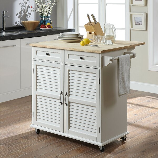 Ottery Kitchen Cart with Solid Wood by Highland Dunes