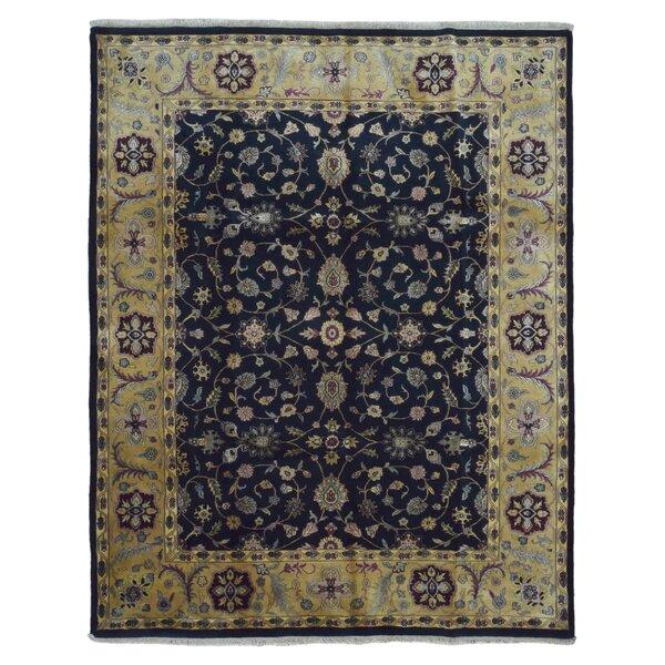 Slagen Oriental Hand Woven Rectangle Wool Navy Area Rug by Astoria Grand