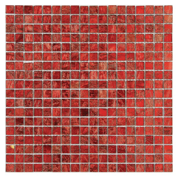Micro Folia 0.56 x 0.56 Glass Mosaic Tile in Hawthorn Red by Solistone
