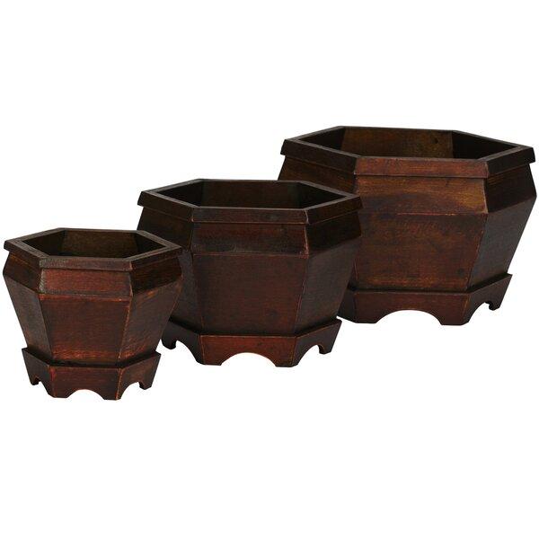 Pembroke Wood Pot Planter Set (Set of 3) by Bay Isle Home