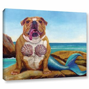 Beach Bulldog' Painting Print on Canvas by Wrought Studio