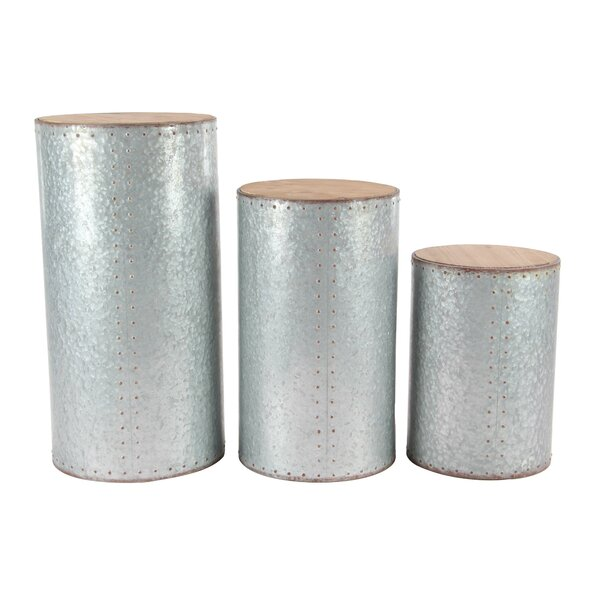 Olguens 3 Piece Industrial Cylindrical Pedestal Plant Stand Set by 17 Stories